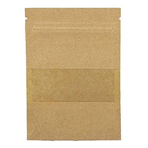 BIGBOBA 100 Stück Wiederverwendbar Papier Druckverschlussbeutel Food Storage Stand Up Pouch für Getrocknete Früchte Kaffee Samen Bean Tee Leaf, braun, 9*14+3cm