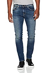 SELECTED HOMME Herren SHNSLIM-Leon 1428 MID.Blue ST STS Slim Jeans, Blau (Medium Blue Denim), W33/L36 (Herstellergröße: 33)