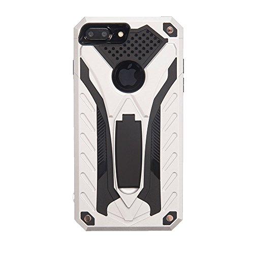 """iPhone 8 Plus (5.5"""") Hülle, BENKER 2 in 1 TPU + PC Material Anti-kratzer und Stoßdämpfend Standfunktion Rüstung Handyhülle - Gold Silber"""