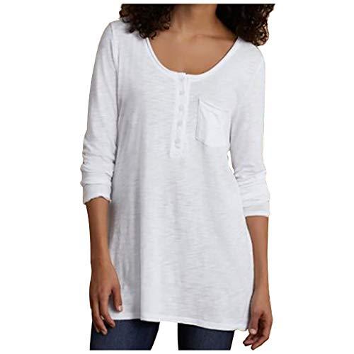 VJGOAL Tops Damen Große Größen Bluse S-XXXXXL Klassisch Einfarbig Rundhalsausschnitt Lange Ärmel Knopf Tasche T Shirts Browning-camo Sweatshirt