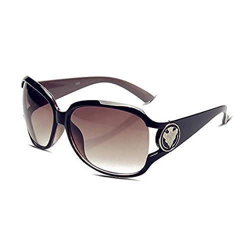 Mode Femme Lunettes de soleil avec grand cadre élégant rond vintage/rétro Motif et 100% UV400protection Eyewear Cadre carré Lunettes de natation Lunettes, femme, Red Frame | Grey Lens