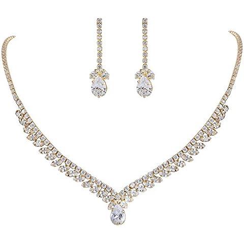 EleQueen Gold-tone Prong completa delle donne zirconi Marquise Teardrop nuziale V-collana orecchini set Cancella