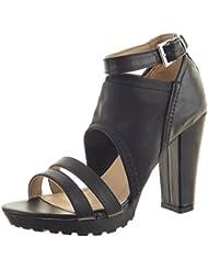 Sopily - Zapatillas de Moda Sandalias Botines Low boots Zapatillas de plataforma Caña baja mujer multi-correa Talón Tacón ancho alto 10.5 CM - Negro