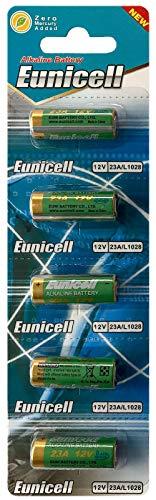 Eunicell 5 x 23A 12V (1 Blistercard a 5 Batterien) Quecksilberfreie Alkaline Batterien MN21, 23A, V23GA, L1028, A23 EINWEG Markenware