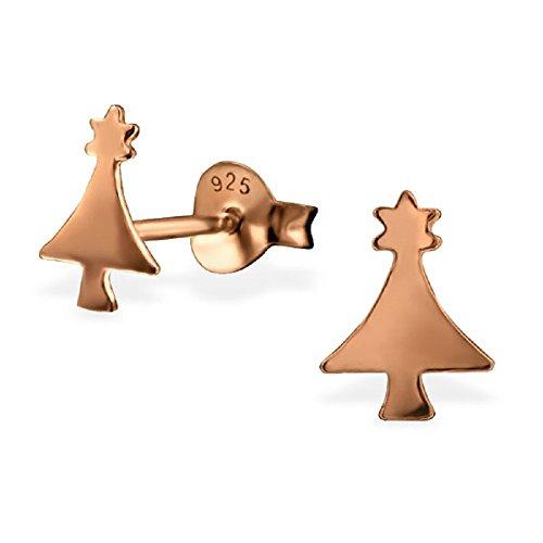 Weihnachtsbaum Ohrstecker–925Sterling Silber–Größe: 6mm x 8mm, mit Rose Gold-Plating–GRATIS Geschenk-Box enthalten–Die Rose & Silver Company–rs0564