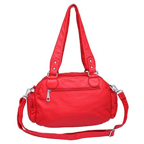 21K 2 chiusure con cerniera chiusura di borse multifunzione tasche borse in lana lavate borse a tracolla AK18579 (Cachi) rosso