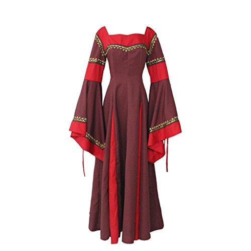Mittelalter Kostüm Guinevere (Cosplayitem Damen Mittelalterlichen Kleid Gothic Viktorianischen Langen Ärmeln Dirndlkleid)