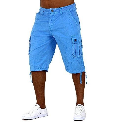Uomini Shorts Cargo Bermuda Frutti di Mare Verde ID1006 Blau