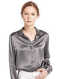 9822bbb84efd7b LilySilk Damen Hemdbluse Seide Sommerliche Damenbluse Shirt mit Verdeckter  Knopfleiste von 22…