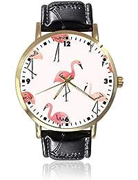 Flamingos - Reloj de Pulsera para Mujer, Unisex, de Piel, Casual, de