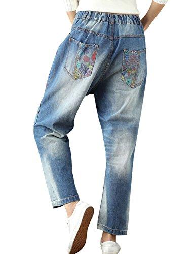 Youlee Femmes Taille elastique Imprimé Jean droit Bleu