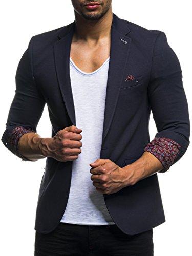 LEIF NELSON Herren Sakko Blazer sportlich Slim Fit Modern Schwarz Blau Anthraztit ; Größe L, Blau