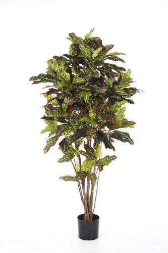 artplants Set 2 x Künstliche Kroton Pflanze BEQA, 388 Blätter, grün-rot-gelb, schwer entflammbar, 180 cm – Künstliche Pflanzen/Deko Baum