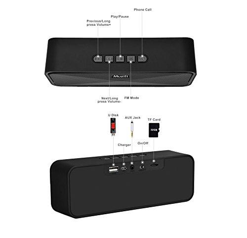 Altavoces Bluetooth Muzili Altavoces inalámbricos  Bajo estupendo Bocinas portables  Sonido estéreo de alta definición Llamadas manos libres Radio FM Línea AUX Compatible con teléfonos ios y Android