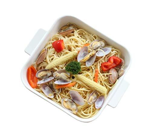 Kehuitong La bandeja para hornear, la bandeja para hornear de cerámica, la vajilla nórdica, cuadrada, se puede utilizar para familias y banquetes, exquisita porcelana blanca, 30.4 * 25.5 * 5.7cm