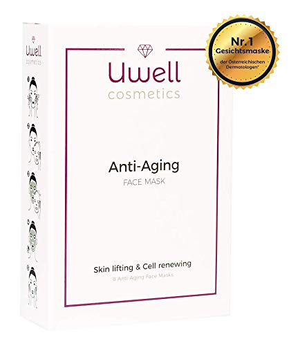 Uwell Anti-Aging Face Mask Gesichtsmaske | Premium Tuchmaske | Aloe Vera Hydrogel Vlies Maske | Hautverjüngend | Faltenreduktion | Vegan | einfache Anwendung | Packung zu 8 Stk. (8 Stk.) - Totes Meer Mineral Lotion