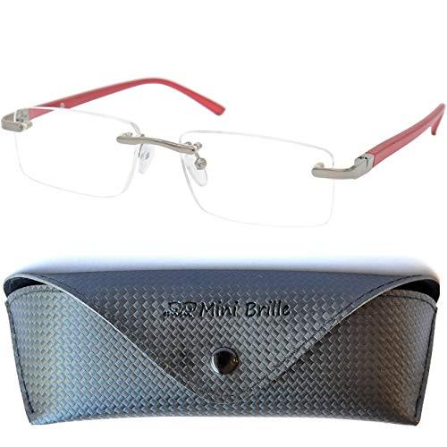 Metall Lesebrille randlos mit rechteckigen Gläsern - mit GRATIS Etui und Brillenputztuch | Edelstahl Rahmen (Rot) mit Federscharnier | Lesehilfe für Damen und Herren |+3.0 Dioptrien