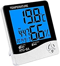 Bigbro New LCD Night Light Indoor Humidity Monitor Temperature Sensor Hygrometer Thermometer with Date Time Alarm Clock (HTC-8A)