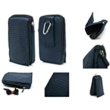 DFV mobile - Multi-functional Universal Vertical Stripes Pouch Bag Case Zipper Closing Carabiner for => NOKIA N800 TABLET > BLUE (16 x 9.5 cm)