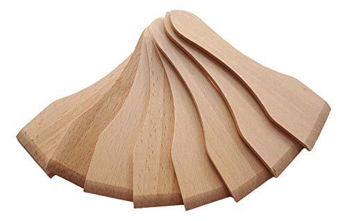 Timeleos Racletteschieber Raclettespachtel Racletteschaber und Untersetzer Brettchen aus Holz für Raclette Pfännchen als Zubehör (Racletteschieber Buche, 8)