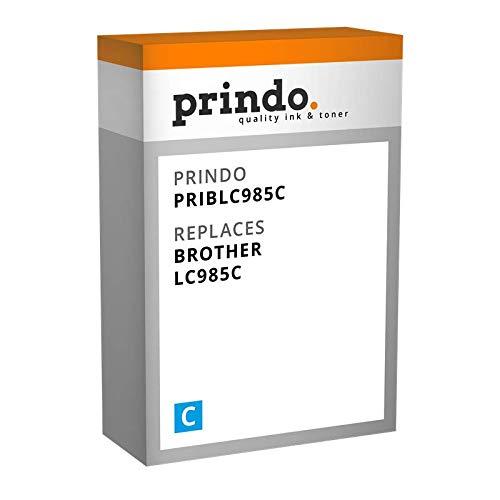 Prindo Brother LC-985C (LC985C) Cyan Tintenpatrone - Alternative Druckerpatronen - Druckerzubehör geeignet für Verschiedene Brother Drucker