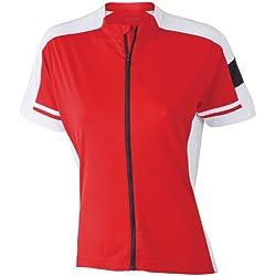 James & Nicholson Ladies' Bike-T Full Zip - Camiseta de ciclismo para mujer, color roja, talla XXL