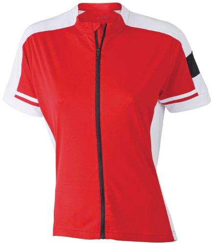James & Nicholson Damen Sport T-Shirt Radtrikots Bike-T Full Zip rot (red) XX-Large