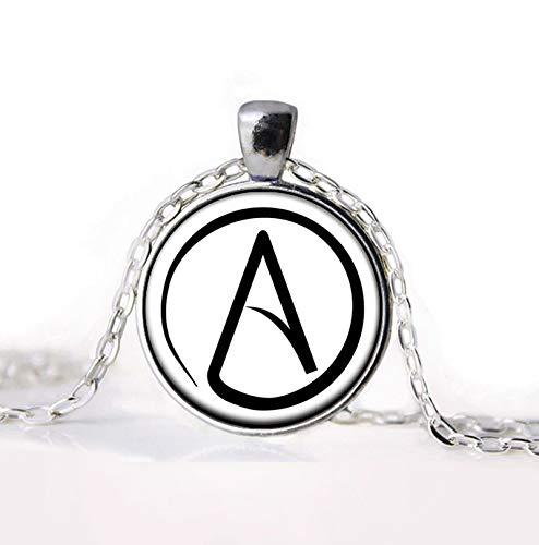 Herren Halskette Neu Angekommen Atheist Atheismus Symbol Silber Zinn Halskette Anhänger Geschenke Glas Halskette Anhänger Pullover Kette Geschenk