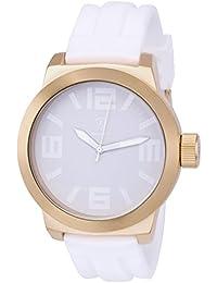Konigswerk AQ202892G - Reloj de pulsera (manecillas blancas, anillo interior, correa de silicona, dial y caja dorada de cuarzo)