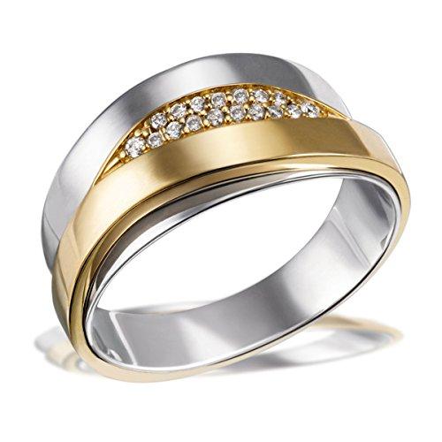 Goldmaid Damen-Ring 585 Gelbgold und 925 Sterlingsilber mit Diamanten Brillanten  Diamantring Verlobung