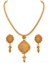 JFL - Fusion Ethnic One Gram Gold Plated Designer Pendant Set With Earring For Women And Girls. - B077YC5R1T