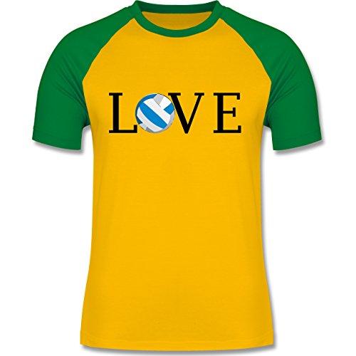 Volleyball - Volleyball Liebe Love - zweifarbiges Baseballshirt für Männer Gelb/Grün