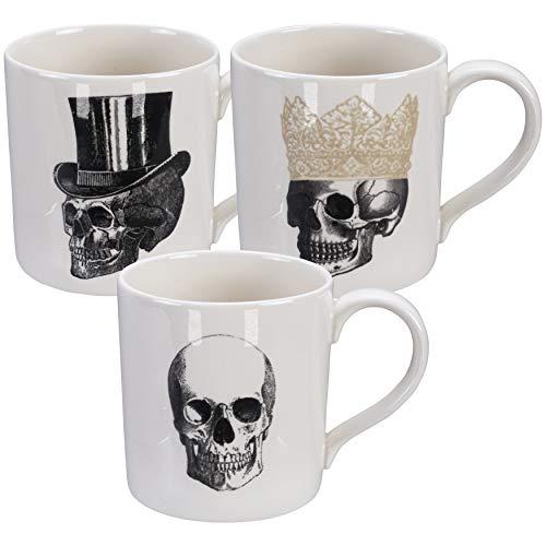 Homelab | Motiv Skull | 3 Tassen Set 9,3 cm, Ø 9 cm mit Totenkopf | 3-tlg. mit 3 Totenschädel Designs | Tassen für 400 ml aus Porzellan mit Skelett Kopf, handgemacht | Farben Weiß, Schwarz & Gold