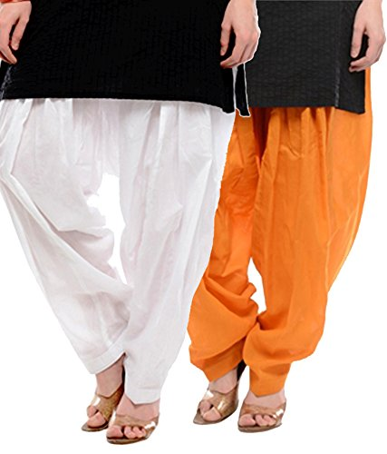 NGT White And Orange Pure Cotton Patialas For Womens