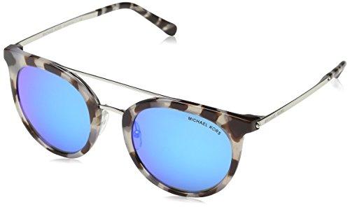 Michael Kors Damen ILA 327525 50 Sonnenbrille, Snow Leopard/Cobaltmirror