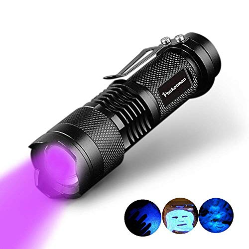 POCKETMAN UV Schwarzlicht Taschenlampe,398nm 300LM LED-Handlampe Haustiere Urin-Detektor,Für die Pass-Geld, Kosmetik und mehr überprüfen - 300lm Cree Q5 Led