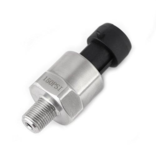 Drucktransmitter Drucksensor, DC 5V 1 / 8NPT Druckaufnehmer aus Edelstahl mit Kabel für Öl Kraftstoff Luft Gas Wasser Gastank Dieseltank - 30 100 150 200 300 500 psi(150PSI) -