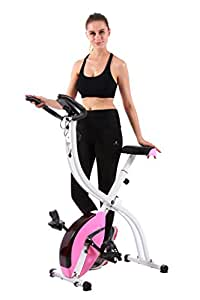 pleny Foldable Fitness Exercise Bike with 16 Level Resistance, Hand Pulse, New Exercise Monitor