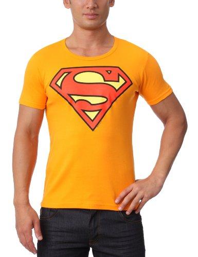 Superman Logo Rundhals T-Shirt - orange - Original Marke Traktor®, Größe L
