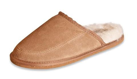 Nordvek Mens Genuine Suede Sheepskin Wool & Man-Made Mix Mule Slippers # 445-100 Chestnut, 10 UK