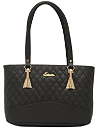 ESBEDA Black Checks Pu Synthetic Fabric Handbag For Women