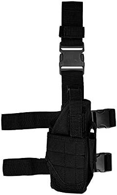 kwmobile Pistolera para pierna derecha funda táctica y sujeción para cinturón en negro