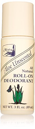 Alvera All Natural Roll-On Deodorant, Aloe Unscented, 3 Fluid Ounce by Alvera (Alvera Aloe)