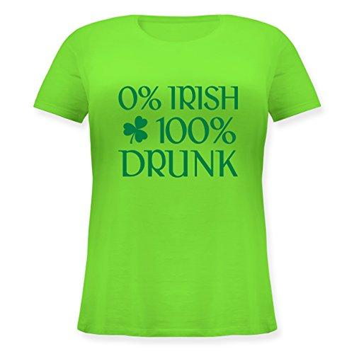 Shirtracer St. Patricks Day - 0% Irish 100% Drunk St Patricks Day - Lockeres Damen-Shirt in Großen Größen mit Rundhalsausschnitt Hellgrün