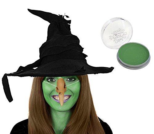 ILOVEFANCYDRESS KOSTÜM ZUBEHÖR FÜR Hexen +ZAUBERIN Verkleidung= Fasching +Halloween = Schwarzen Zauber Hut + Gummi HEXNNASE MIT WARZEN ZUM UMBINDEN ()