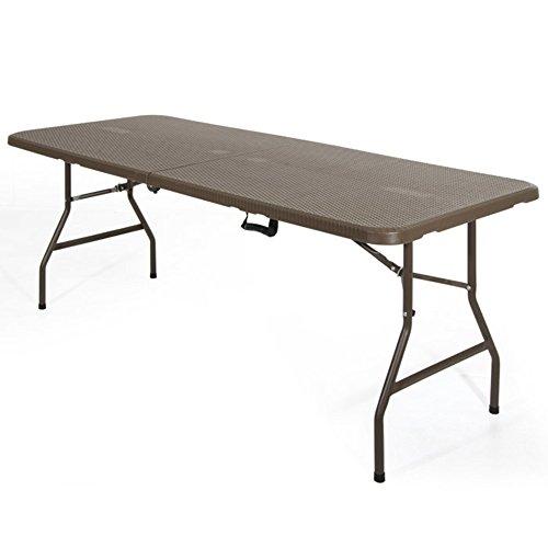 Verdelook tavolo pieghevole struttura in acciaio effetto rattan verniciato marrone arredo