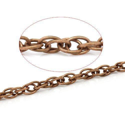 Länge Von 5 Metern Rot Kupfer Legierung Auflage 4x5.5mm Doppellenker Kette - (CH1370) - Charming Beads
