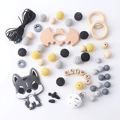 Mamimami Home Batman DIY Baby Zahnen Spielzeug Silikon Krankenpflege Halskette Häkelnde Perlen Armband Hölzernes Schnuller Clips Kautabletten
