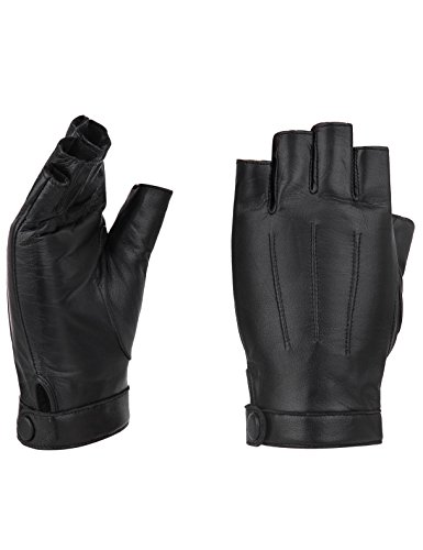 "YISEVEN Damen Fingerlose Schaffell Lederhandschuhe Halbfinger Autofahrer-Handschuhe Winter Leder, schwarz Groß/7.5\"""