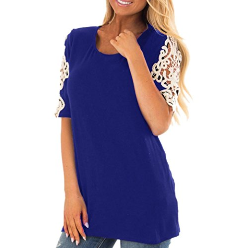 ESAILQ Damen Chiffon Bluse V-Ausschnitt Henley Shirt Casual Langarm Oberteile XS-XXXL (M,Blau)